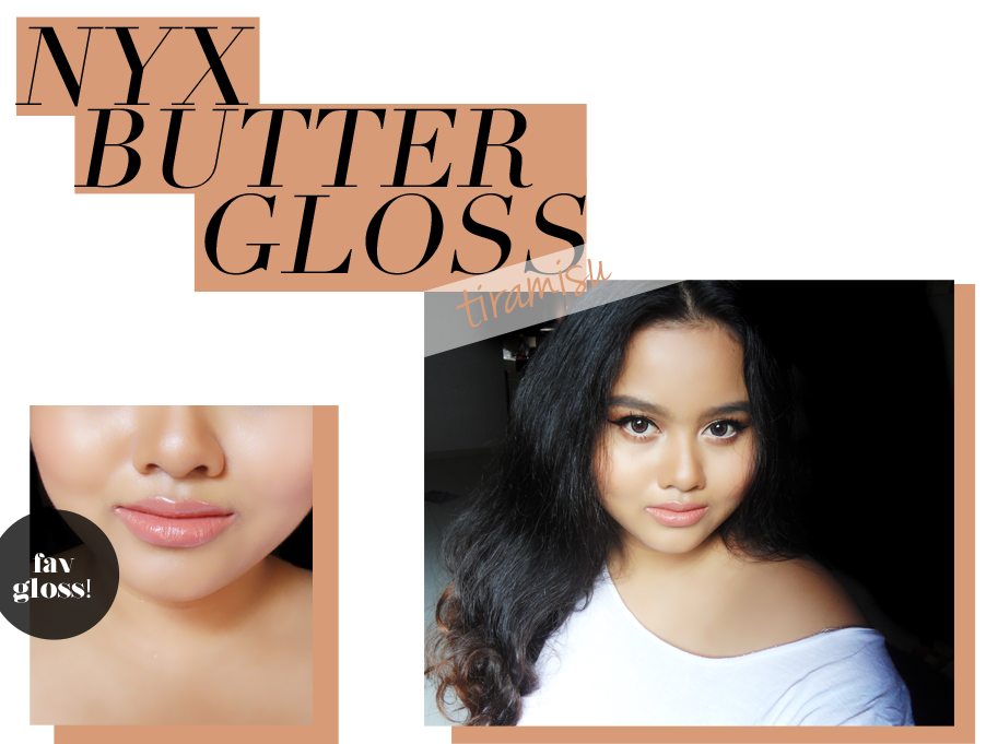 This image shows how the nyx butter gloss in tiramisu looks like when applied on the lips.