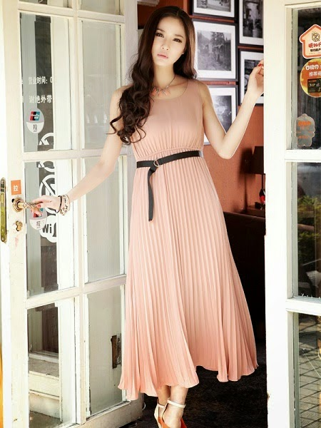 Model Baju Dress Panjang Ala Korea Terbaru 2015