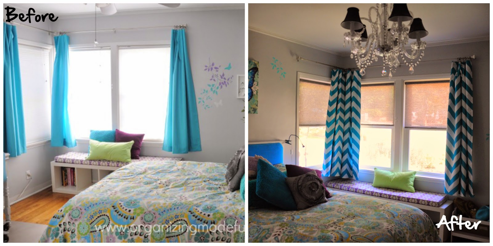 Before and After of Turquoise Chevron Curtains :: OrganizingMadeFun.com