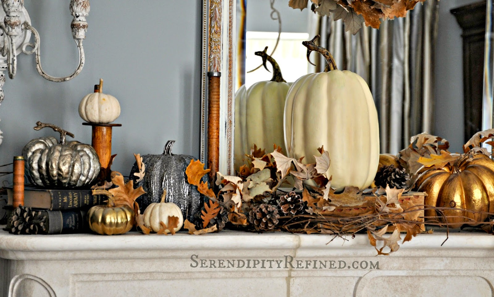French Country Fall Mantel Neutrals Naturals and