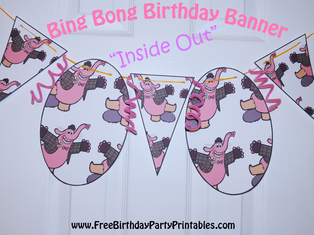 "diy birthday blog: bing bong ""inside out"" birthday banner idea"