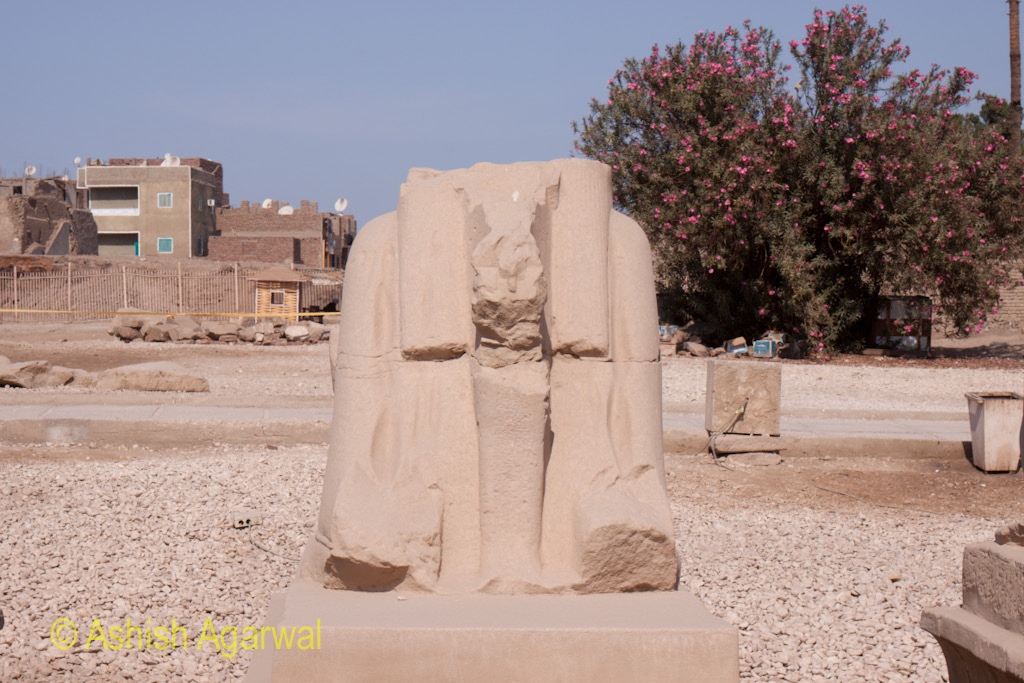 A defaced structure inside the temple of Karnak in Luxor