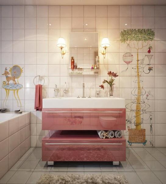 Adorable Painted Tile Bathroom