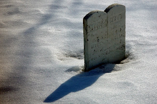 Tombstone in the snow