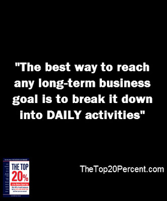 The best way to reach any long-term business goal is to break it down into daily activities