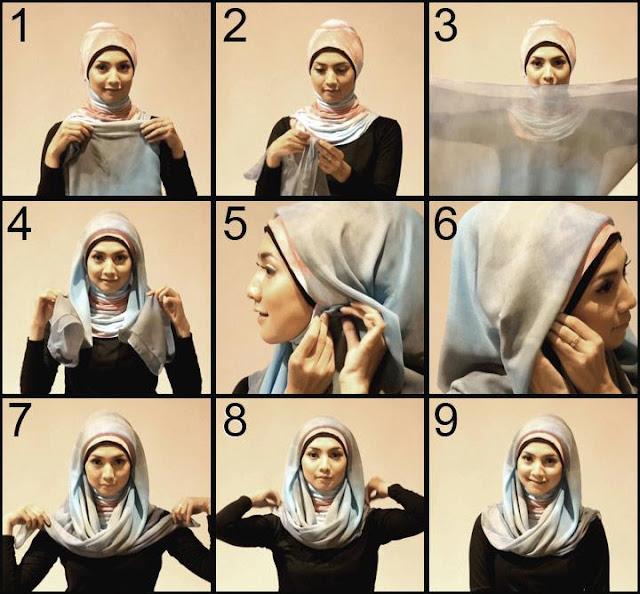 Tutorial Cara Memakai Jilbab modern Paris 2013
