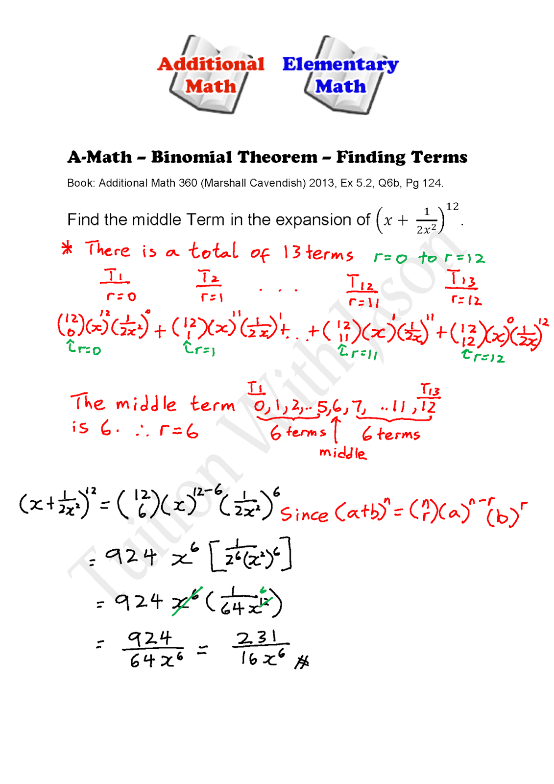 binomial expansion examples with answers pdf