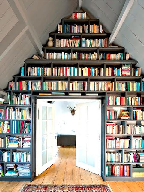 Built in bookshelf wood floor double door home library
