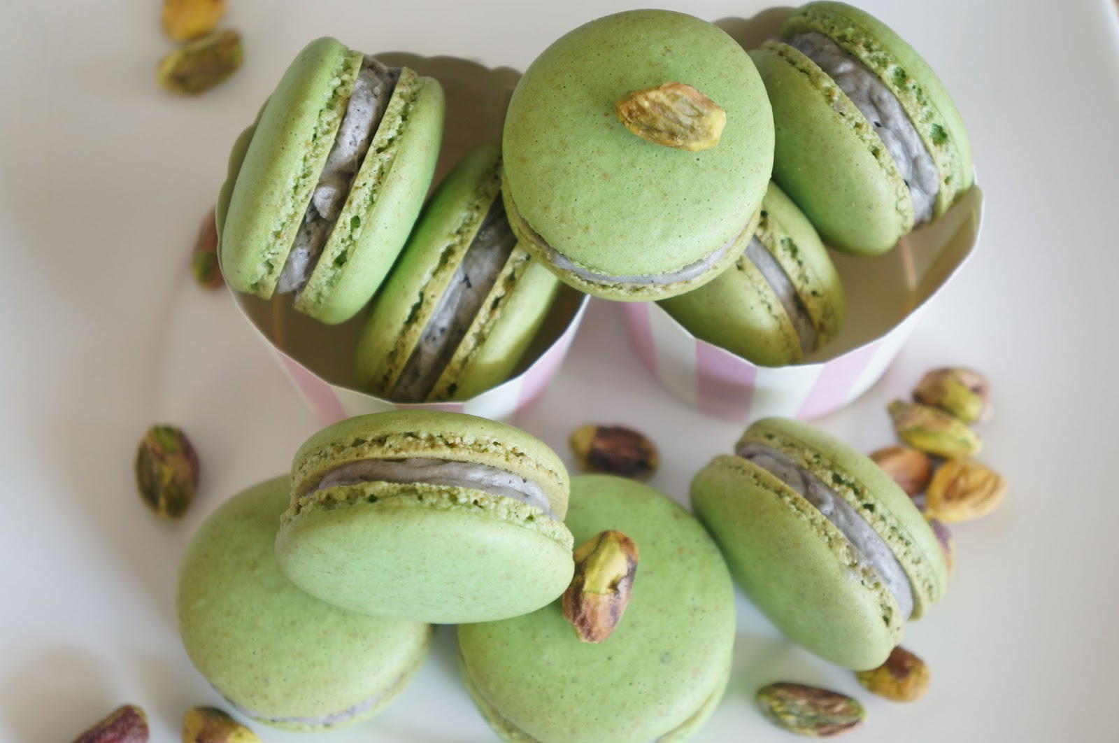 Pistachio macarons with Black sesame buttercream