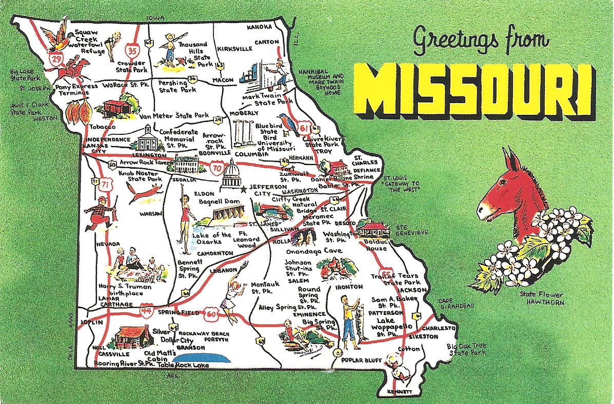 MY POSTCARDPAGE USA MissouriMap - Missouri on map of usa