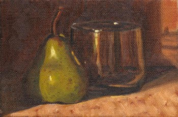 Oil painting of a pear next to a short glass.