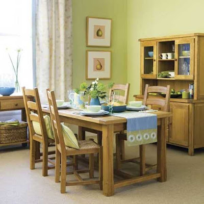 Light Blue and Green Colors combination in dining room wall decor ideas