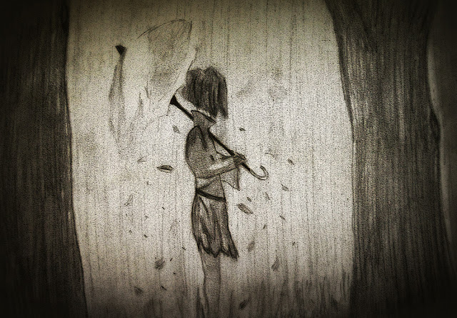 Girl in limbo forest sketch