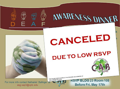 Deaf Awareness Event Cancelled