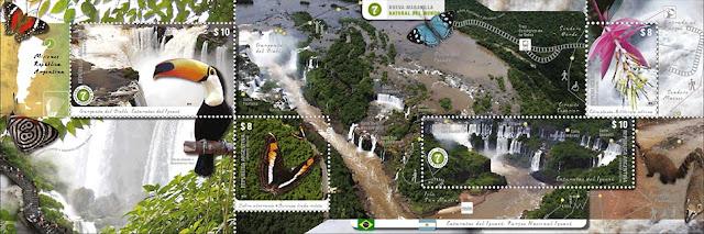 Minipliego con 4 sellos de Cataratas del Iguazú, Misiones, Argentina