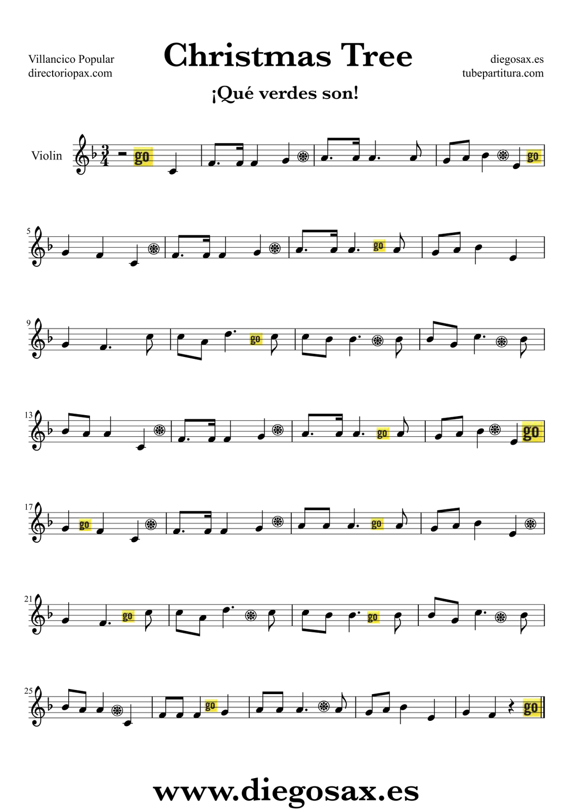 Diegosax christmas tree partitura para flauta violn saxofn partitura de el abeto para flauta travesera flauta dulce y flauta de pico partitura del hexwebz Choice Image