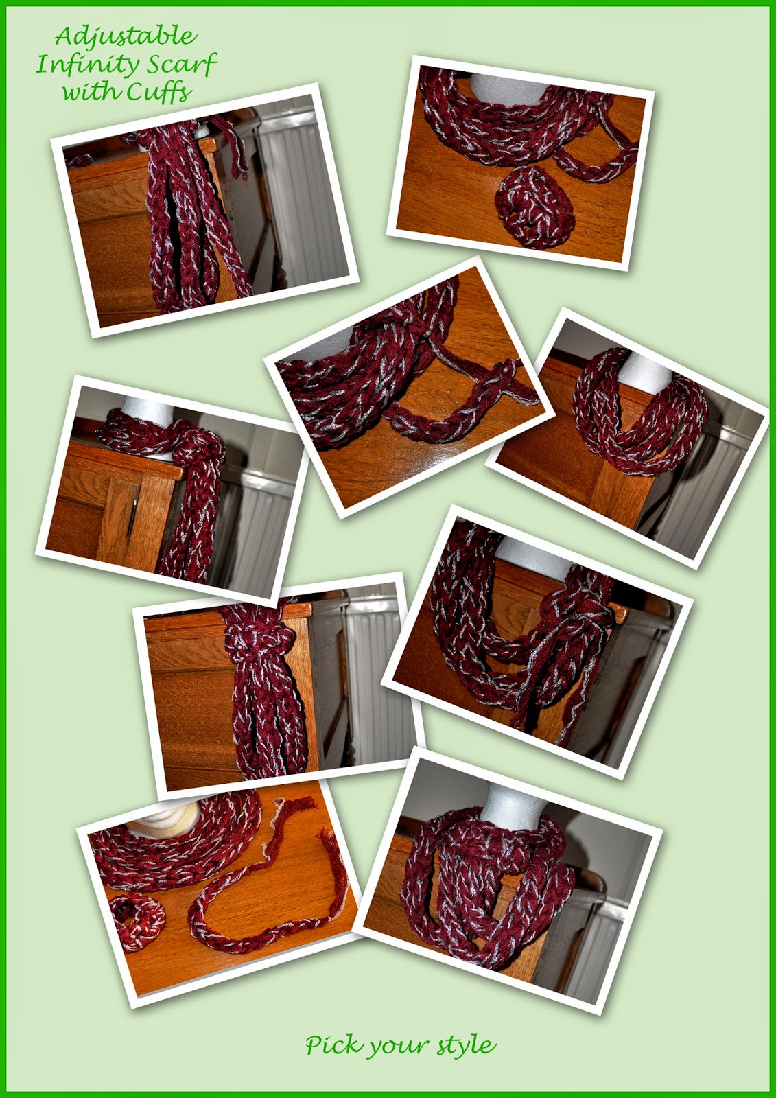 hand made infinity scarf and cuffs