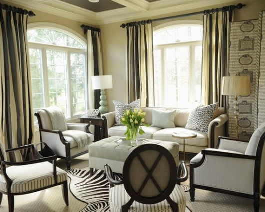 Zebra rugs bungalow home staging redesign for Living room ideas zebra