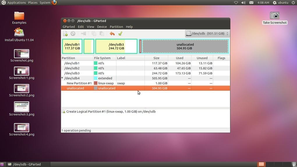 Installing ubuntu 1104