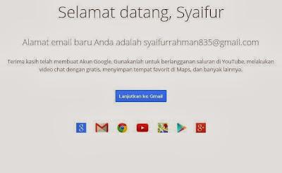 Halaman Penyambutan Gmail, Menandakan bahwa proses pembuatan email selesai
