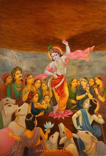 Shri Krishna lifting Govardhan