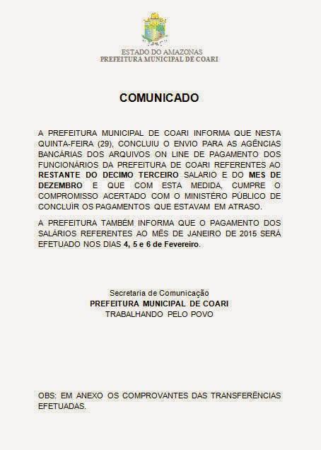 PREFEITURA DE COARI CONCLUI PAGAMENTOS EM ATRASO