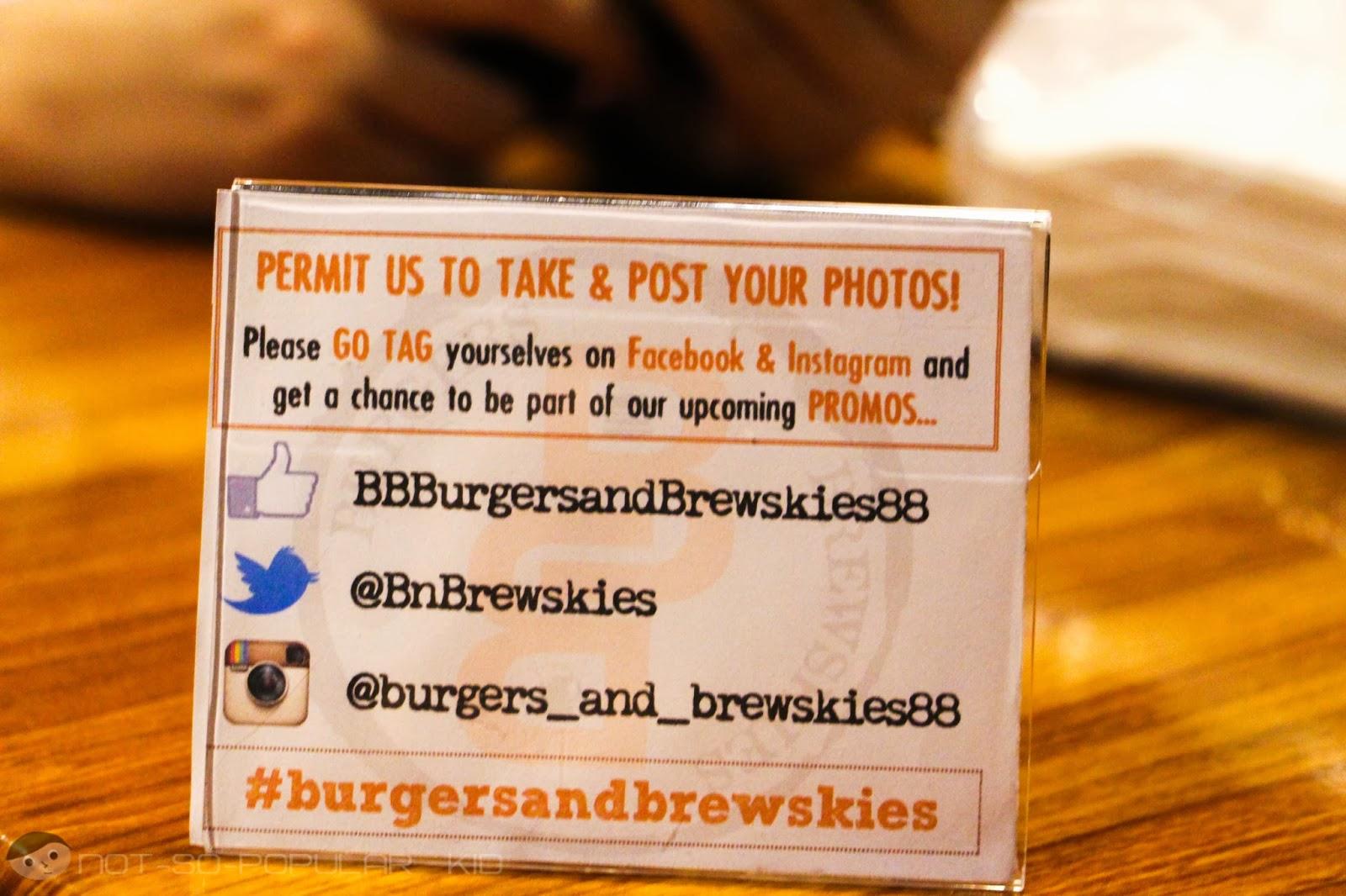 Burgers and Brewskies Social Media Accounts