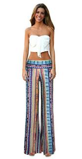 Pantalones estampados anchos con cintura ancha y elástica