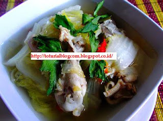 Resep Sayur Sawi Putih Kuah Sup Ayam Bening
