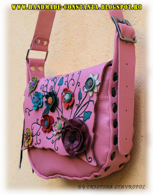 Pink leather bag.