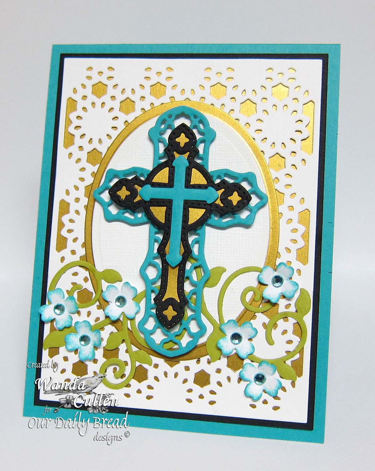 Our Daily Bread Designs Custom Ornamental Crosses Die, ODBD Custom Daisy Chain Background Die, ODBD Custom Fancy Foliage Die