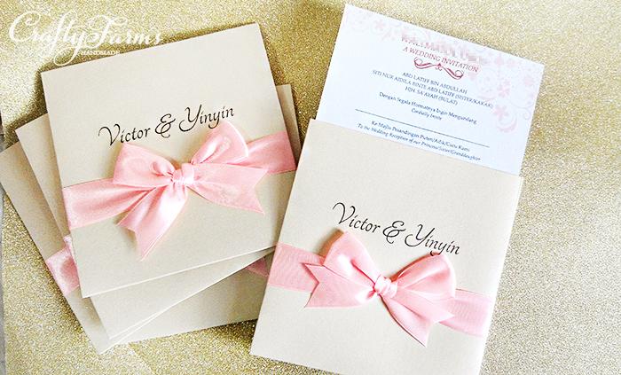 Wedding card malaysia crafty farms handmade pocket wedding pocket wedding invitation cards with pink ribbon bow kuala lumpur malaysia wedding stopboris Gallery