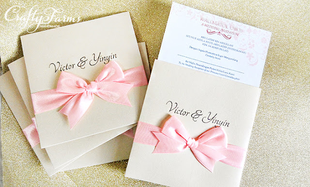 Pocket Wedding Invitation Cards with Pink Ribbon Bow Kuala Lumpur Malaysia Wedding