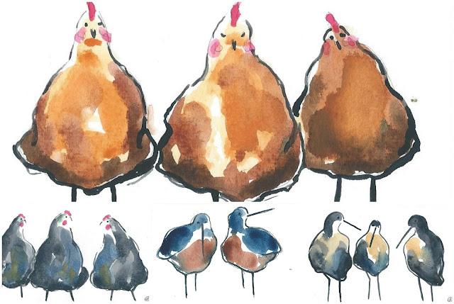 lene christensens akvareller af fugle