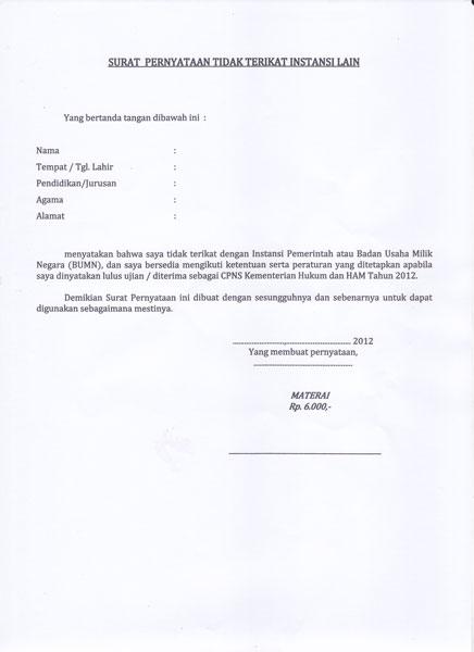Contoh Surat Pernyataan Tidak Bekerja Dengan Instansi Lain Baik Pemerintah Maupun BUMN