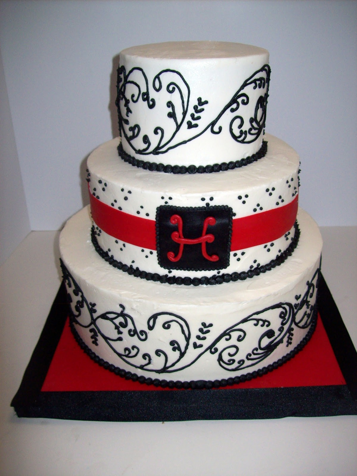 Black, Red U0026 White Wedding Cake With Initial