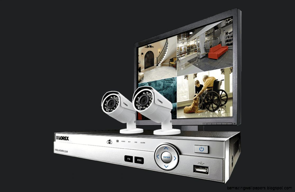 Home security system with 4 channel DVR 2 HD 1080p cameras and
