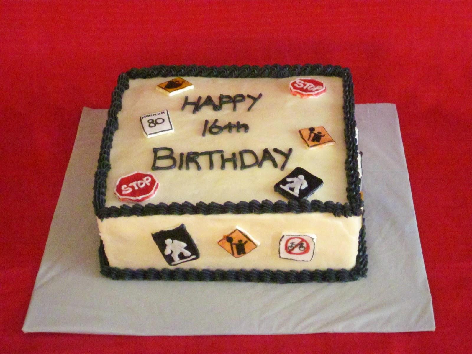 Second Generation Cake Design Traffic Sign 16th Birthday Cake