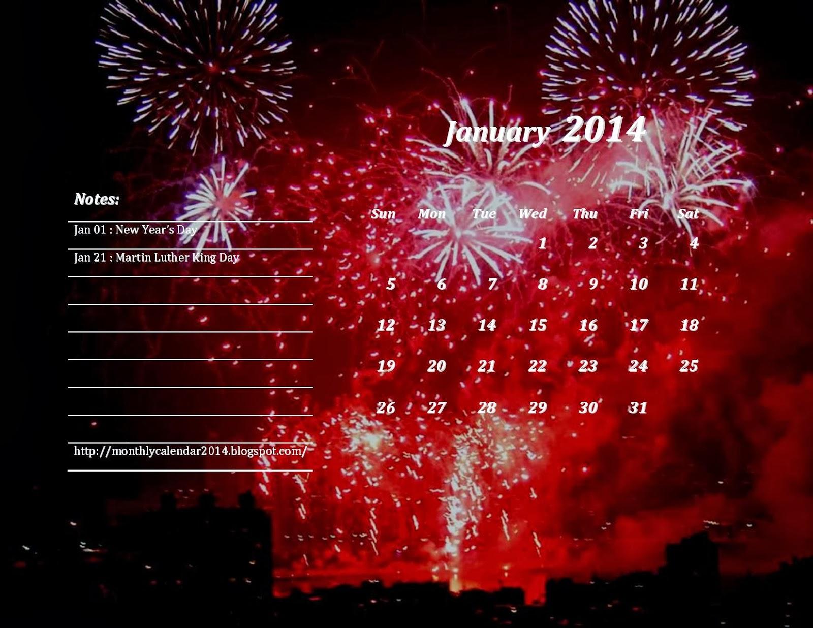 january 2014 calendar happy new year happy holiday 2014