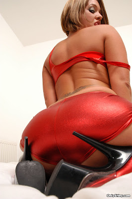 Shiny Red Spandex Ass and Heels