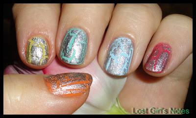 OPI silver shatter polish with various nail polishes