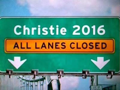 Interstate sign - 'Christie 2016. All Lanes Closed'