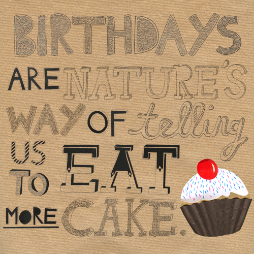 Birthday Quotes With Images Of Cake : Illustration Rally: Typography: Happy Birthday No.1