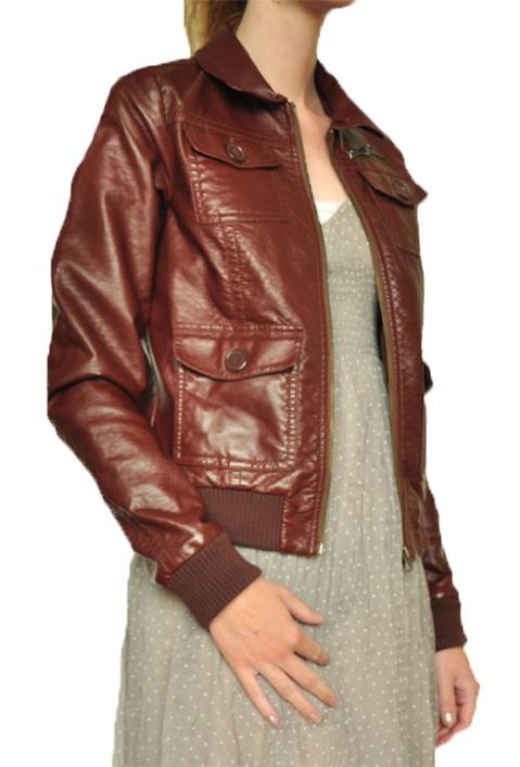 Veste en faux cuir marron
