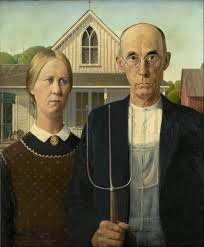 "Famous Painting ""American Gothic"" by Grant Wood, 1930"