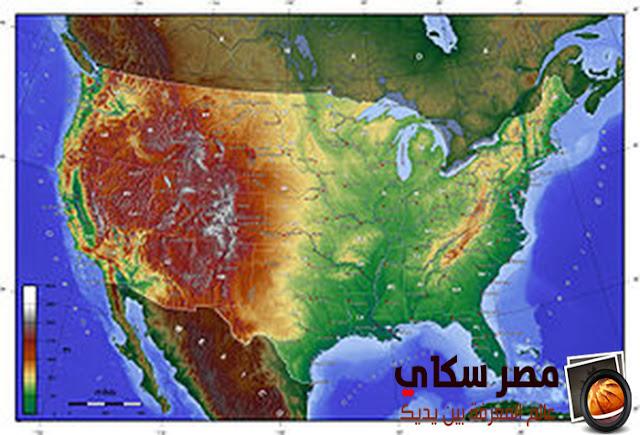التضاريس والسكان فى الولايات المتحدة الأمريكية