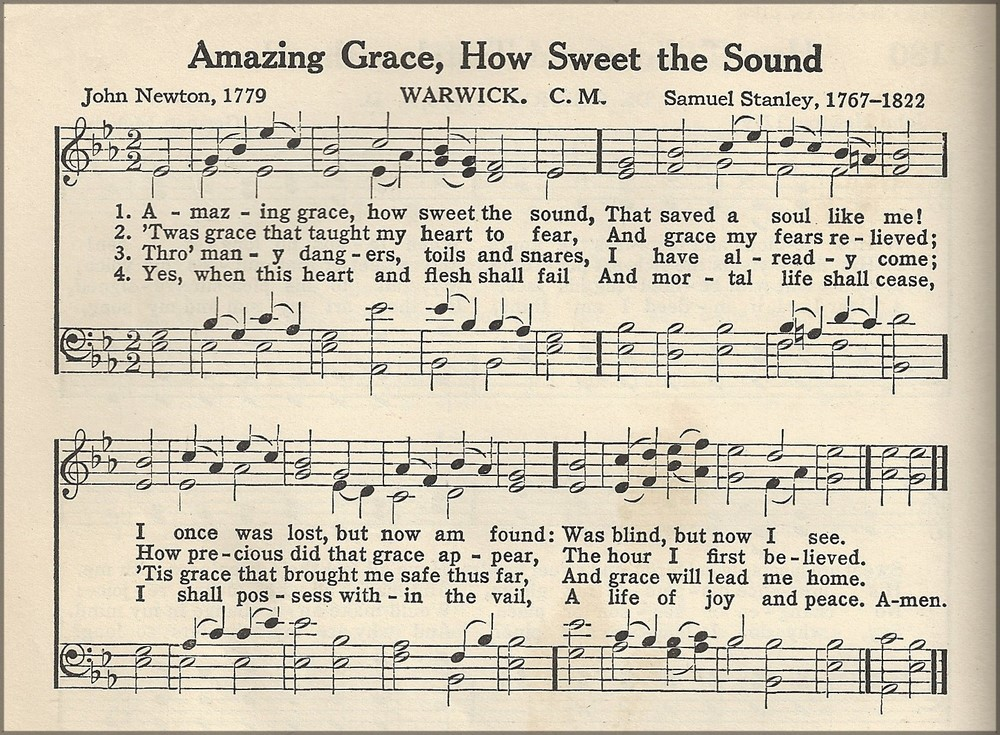Handy image in free printable piano sheet music for amazing grace