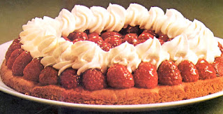 Danish dessert of raspberries on a shortcake base topped with whipped cream.