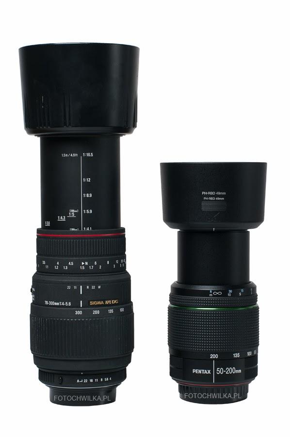Sigma 70-300 mm f/4-5,6 APO DG MACRO i Pentax 50-200 mm WR z osłoną przeciwsłoneczną