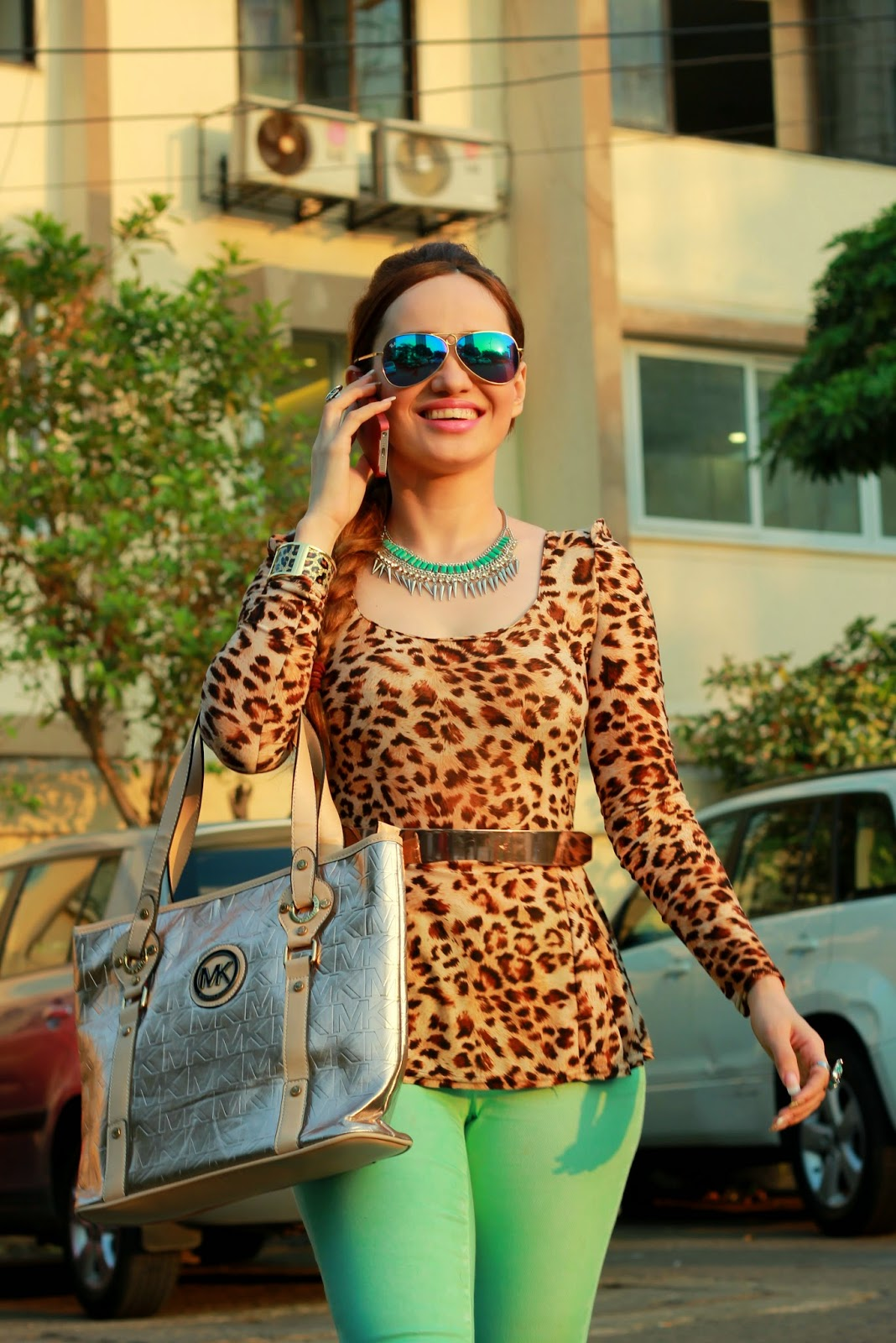 Leopard Peplum Top & Mint Green Jeans & Michael Kors Bag